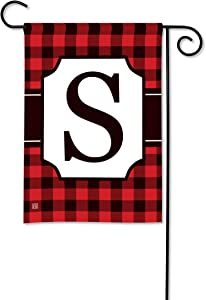 BreezeArt Studio M Buffalo Check Monogram S Garden Flag - Premium Quality, 12.5 x 18 Inches