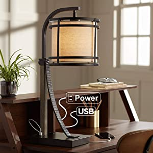 Gentry Rustic Farmhouse Desk Table Lamp with USB and AC Power Outlet in Base Oil Rubbed Bronze Oatmeal Fabric Drum Shade for Living Room Bedroom Bedside Nightstand Office - Franklin Iron Works