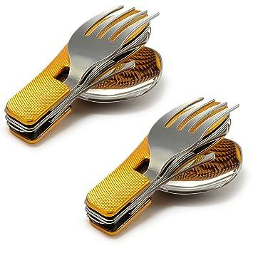 Juego de 2 – 4 piezas camping cubertería con mango de aluminio estriado (Cuchillo,