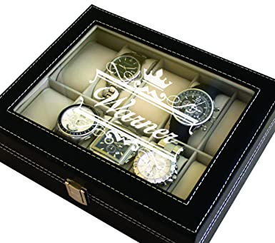 Custom Engraved Black Watch Storage Case Box Groomsmen Father S Day Gift Personalized Crown Style