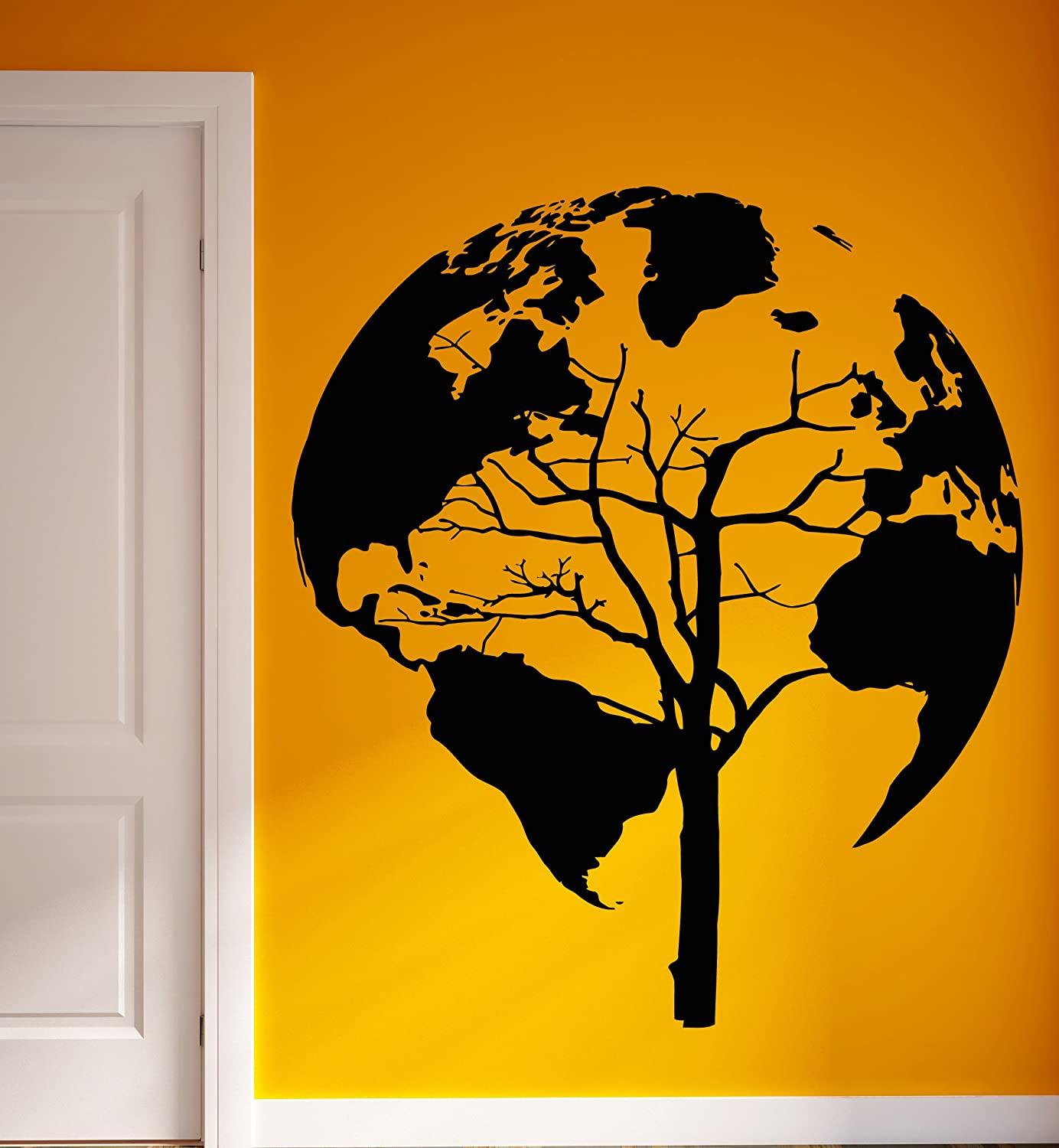 Amazon.com: Wall Vinyl Stickers World Map Earth Tree Unusual Decor ...