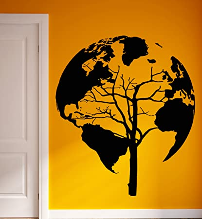 unusual wall stickers pet photo wall vinyl stickers world map earth tree unusual decor for living room z2076m 45 amazoncom