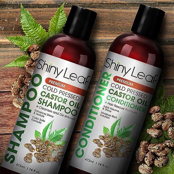 Shiny Leaf Acondicionador con aceite de ricino prensado en frío - fortalece las hebras de cabello, repara el cabello dañado, restaura e hidrata el cabello, ...