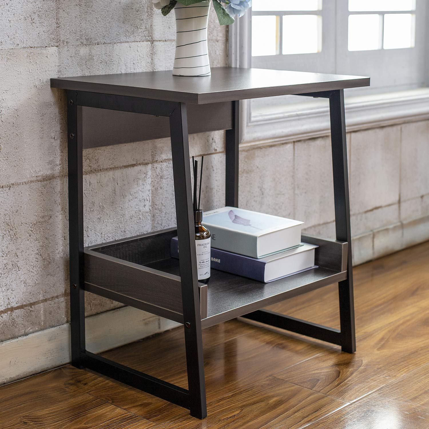 Amazon.com: HOFOME End Table, 2 Tier Storage Side Table ...