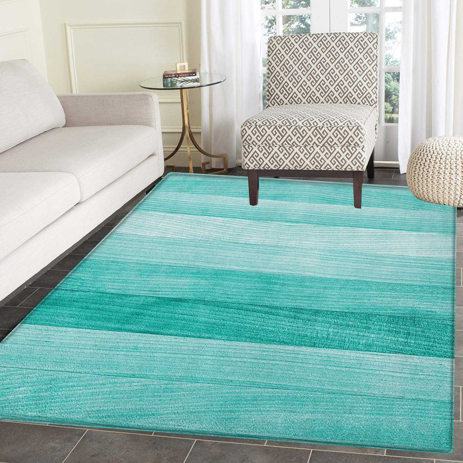 Teal Rug Kid Carpet Painted Wood Board with Horizontal Lines Birthdays Easter Holiday Print Backdrop Image Home Decor Foor Carpe 4'x6' Turquoise