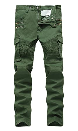 Men&39s Army Green Moto Biker Jeans Distressed Slim Zipper Skinny
