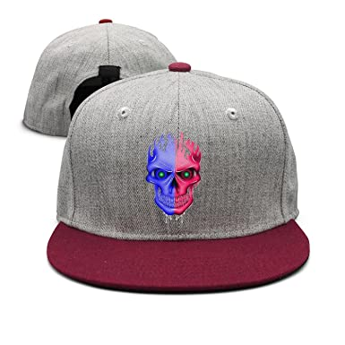 YHNBHI Bule and Red Skull Unisex Hip-Hop Red Flat-Along Adjustable Cricket  Cap Street Dancing Baseball Hat at Amazon Men s Clothing store  fec92c4a5e23