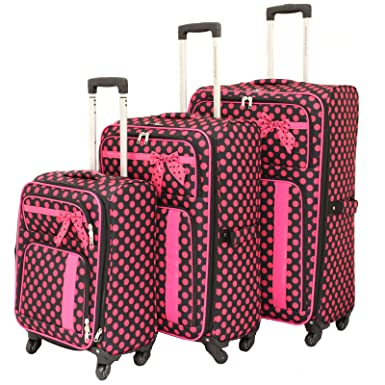 Amazon.com | American Green Travel Polka Dot Luggage Set, Black ...