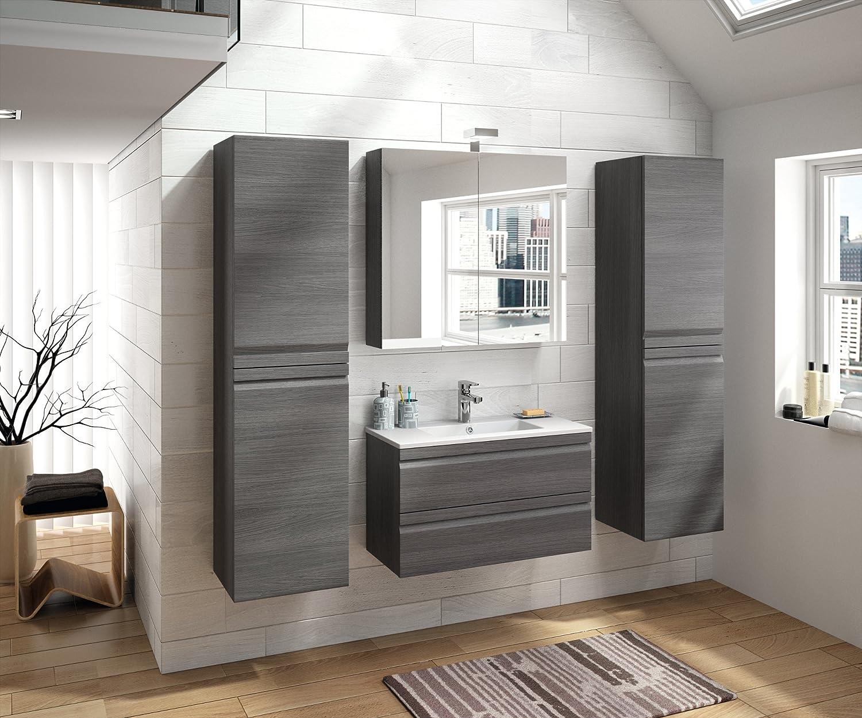 Allibert Set de muebles de baño premontado softclose de roble gris Espejo lavabo