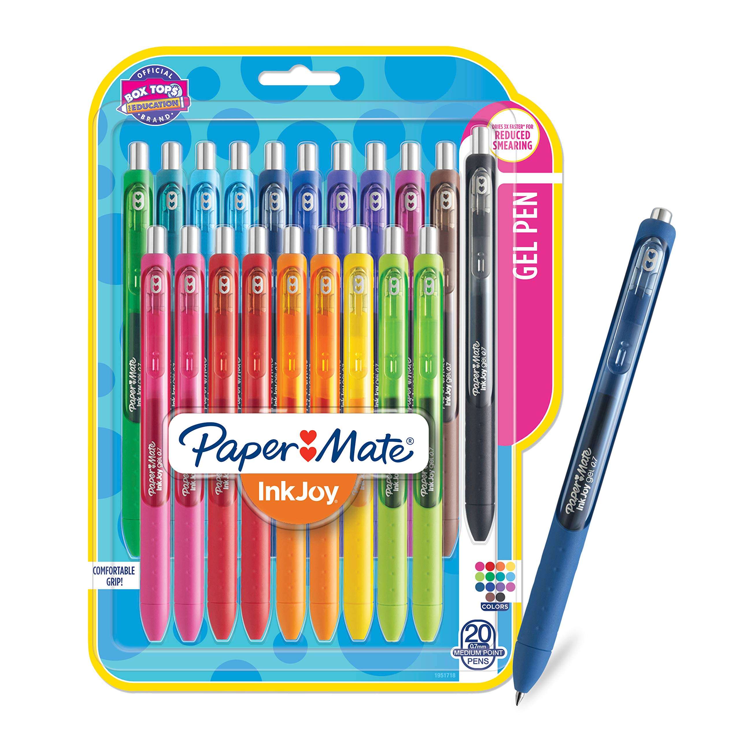 Paper Mate InkJoy Gel Pens, Medium Point, Assorted Colors, 20 Count - 1951718 by PAPER MATE