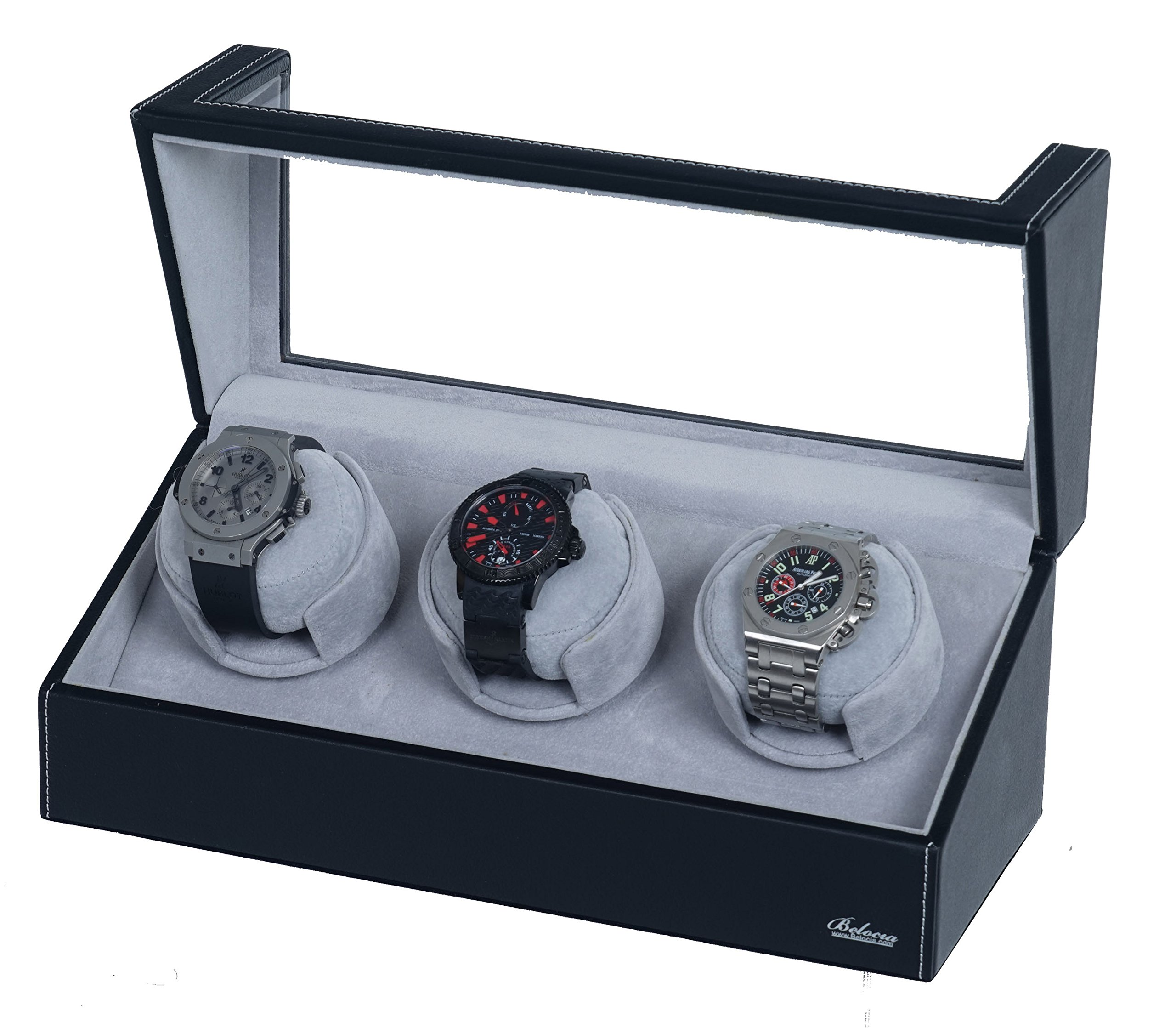 Watch Winder With Japanese Mabuchi Motor, 750, 1000, 1500 and 1800 TPD. (Black/GreyW3)