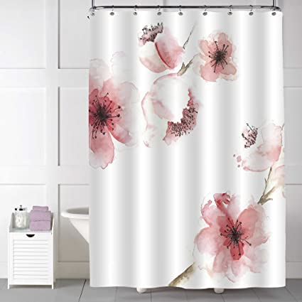 Amazon mitovilla spring floral shower curtain for women mitovilla spring floral shower curtain for women chinese watercolor pink cherry blossom print waterprrof mightylinksfo