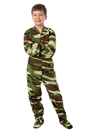 Amazon.com: Big Feet Pjs Kids Green Camo Fleece Boys Footed ...