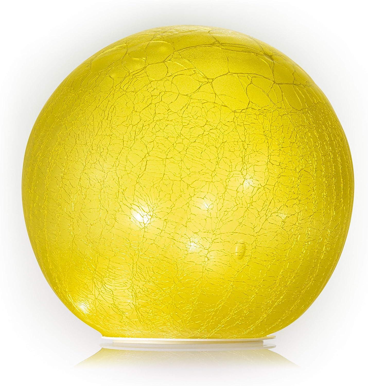 Alpine Corporation HGY382YL-L Alpine Glass Glazing Globe with Battery Box Gazing Balls, Yellow