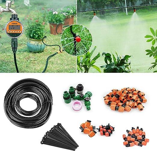 FIXKIT 30M Kit de Riego, Sistema de Riego, Adecuado para Riego de Jardines y Bricolaje, con Rociador Automático: Amazon.es: Jardín