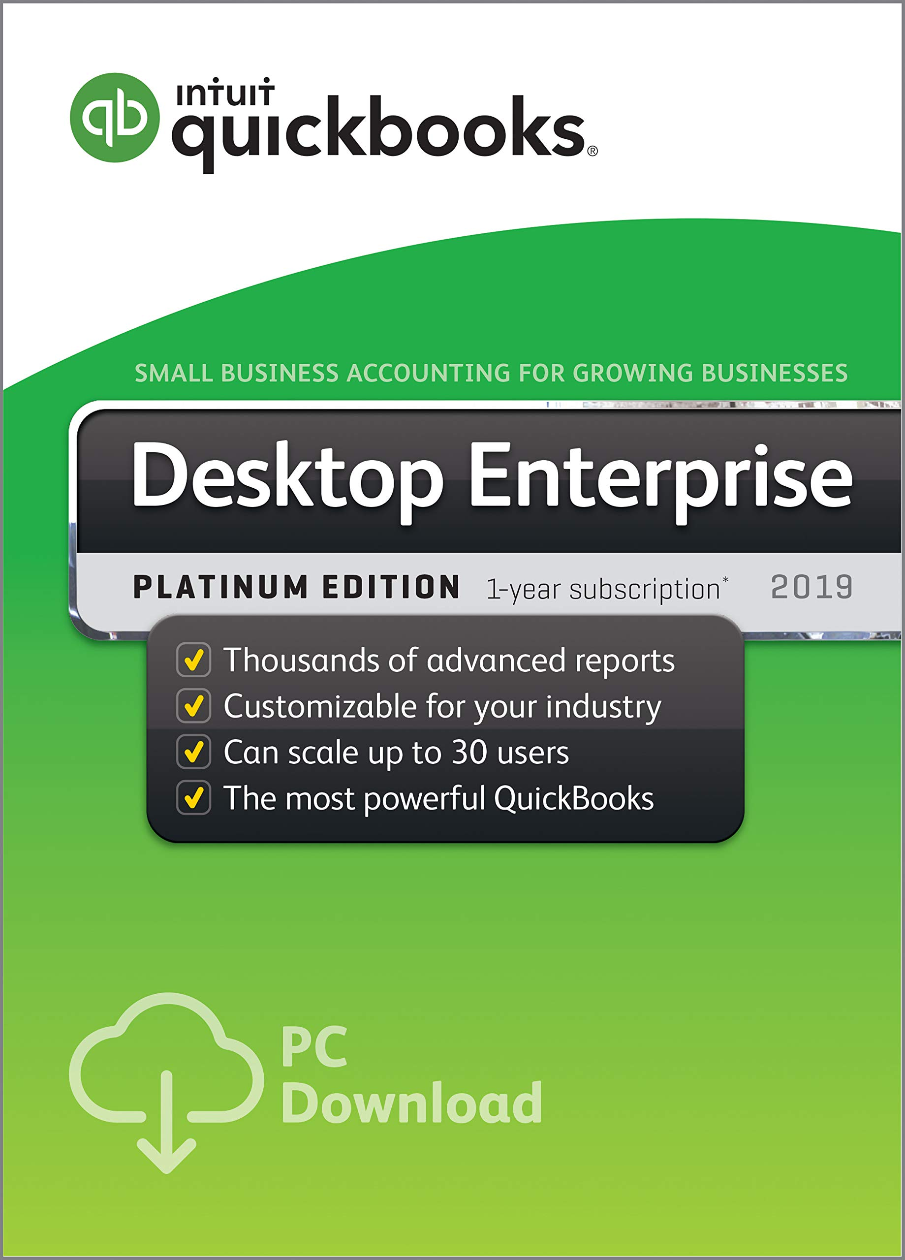 QuickBooks Desktop Enterprise Platinum 2019, 10 User, 1 Year Subscription [PC Download] by Intuit