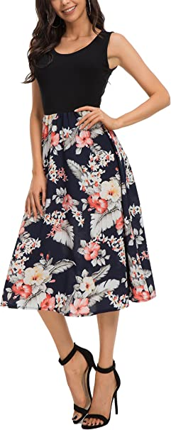 Damen Blumen Trägerkleid Riemchen Sommerkleid Schulterfrei A-Linien Strandkleid