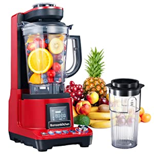 Bondenkitchen High Speed Vacuum Blender, Multifunctional Food Processor and Smoothie Blender, 1500W Powerful Anti-Oxidation Mixer for Smoothies, Shakes and Frozen Drinks