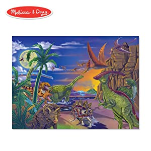 """Melissa & Doug Land of Dinosaurs Jigsaw Puzzle (Wipe-Clean Surface, 60 Pieces, 10.9"""" H x 7.4"""" W x 1.8"""" L)"""