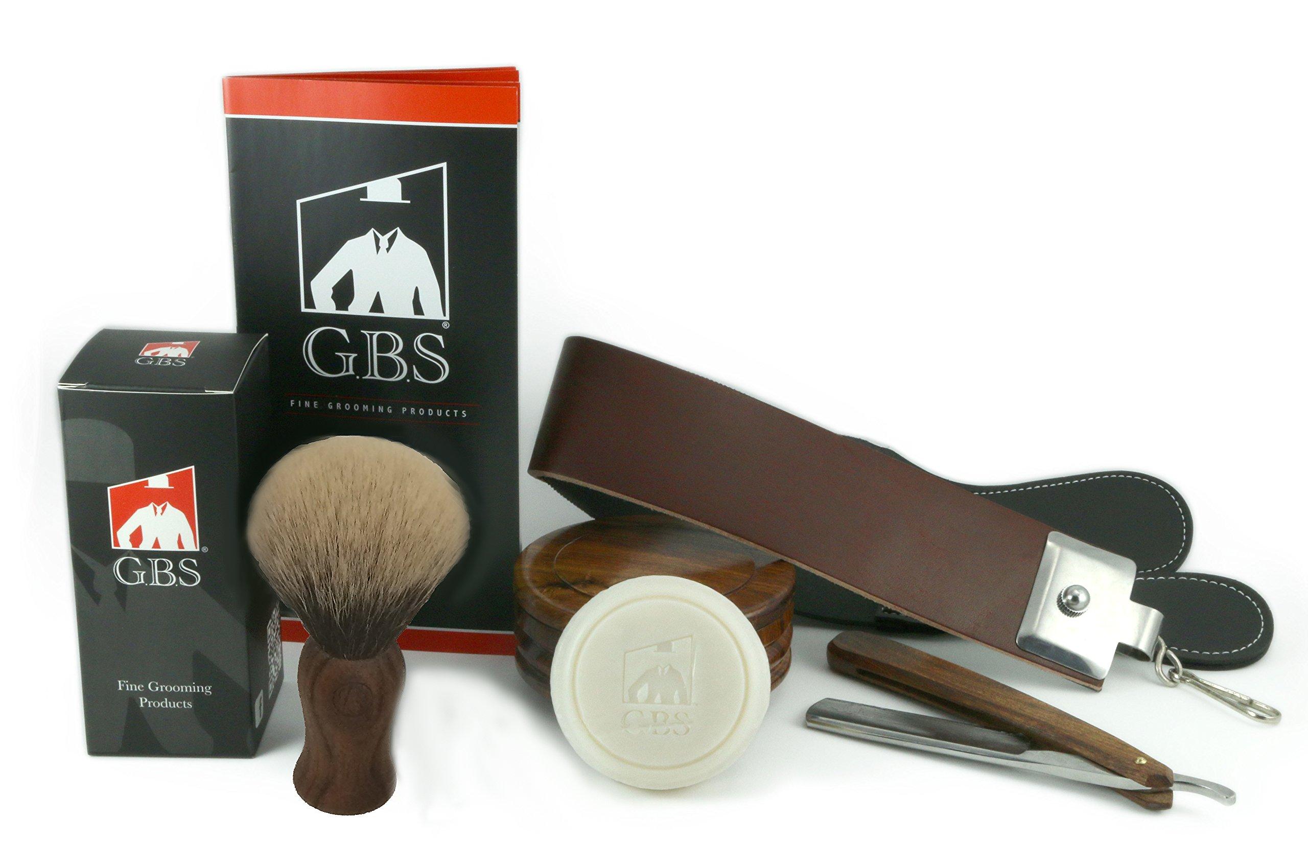 5 Piece Shaving Set - Soap, Wood Bowl, Wood Straight Razor and Wood Synthetic Brush