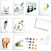 Cute Watercolor Wildlife Assortment Set by Blule Box of 24 Animals Paintings Greeting Cards with Envelopes and Seal…