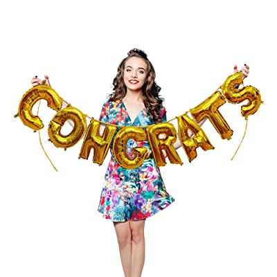 Treasures Gifted Gold Congrats Foil Balloons 16 Inch Hanging Letters Banner Garland for Congratulating Graduate Wedding Engagement Bachelorette Party Celebrations: Home & Kitchen