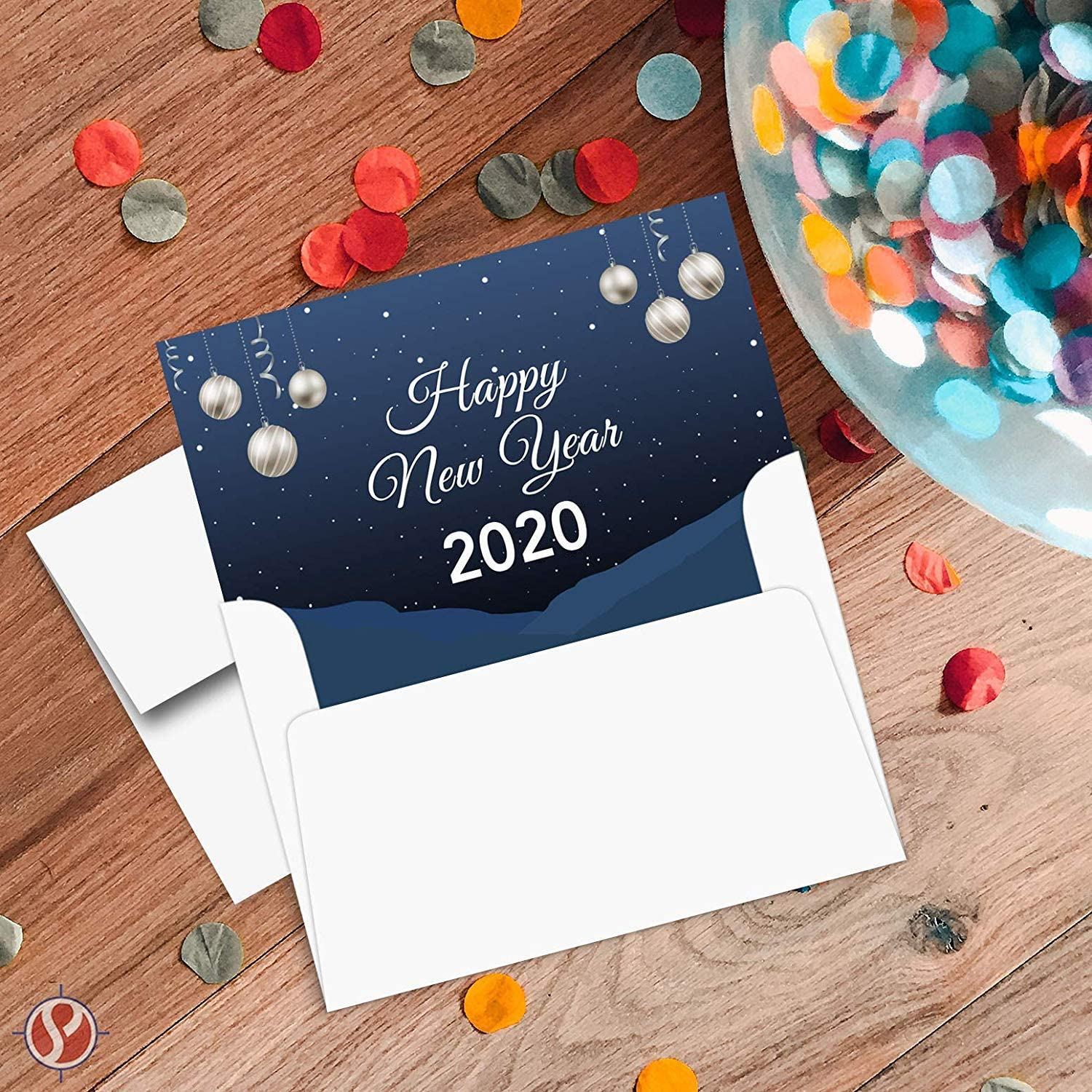 25 Cards and 25 Envelopes per Pack 4 1//2 x 6 Inches When Folded for Christmas and New Yrs Gifts and Presents 2020 Happy New Year Blue Holiday Greetings Fold Over Cards /& Envelopes