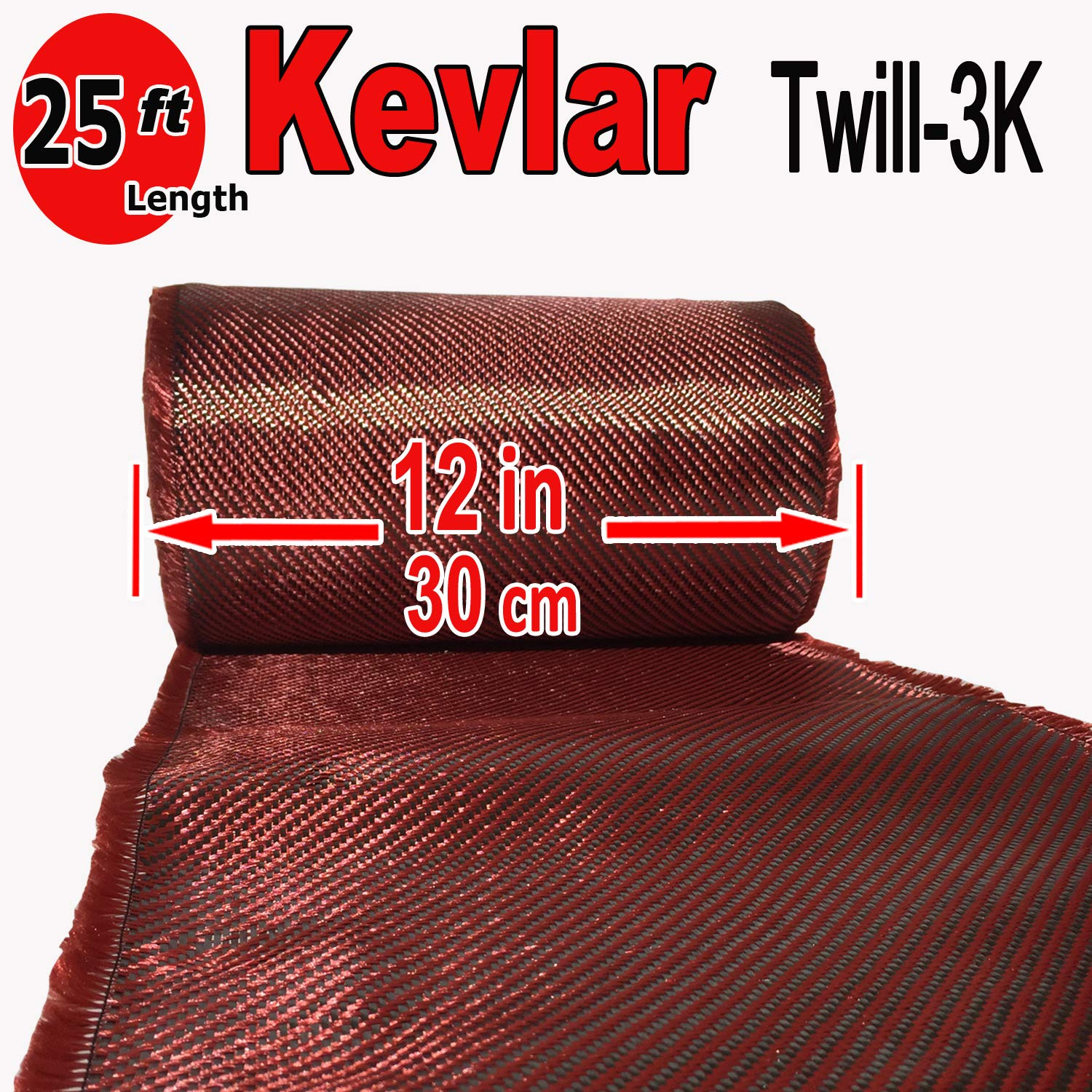 12'' x 25 FT Red - Kevlar FABRIC-2x2 Twill WEAVE-3K/220g by Unknown