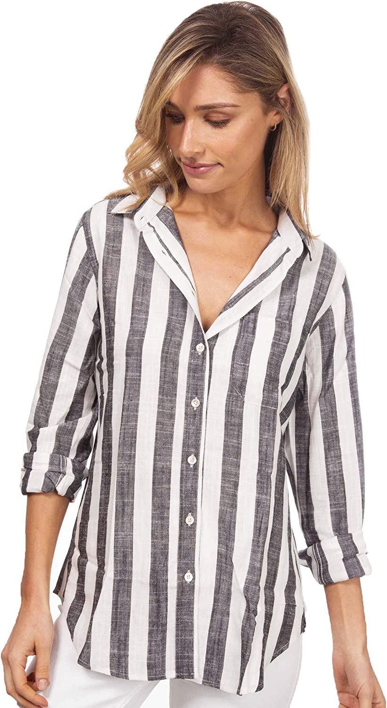 Camixa Women S Striped Shirt Casual Long Sleeve Button Down Drapy Linen Blouse Xs White Black At Amazon Women S Clothing Store