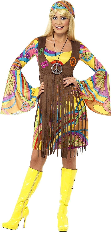 L XL NUOVO Donna 60s anni/'60 1960s Costume Con Frange Top Rosa Hippy Hippie S M