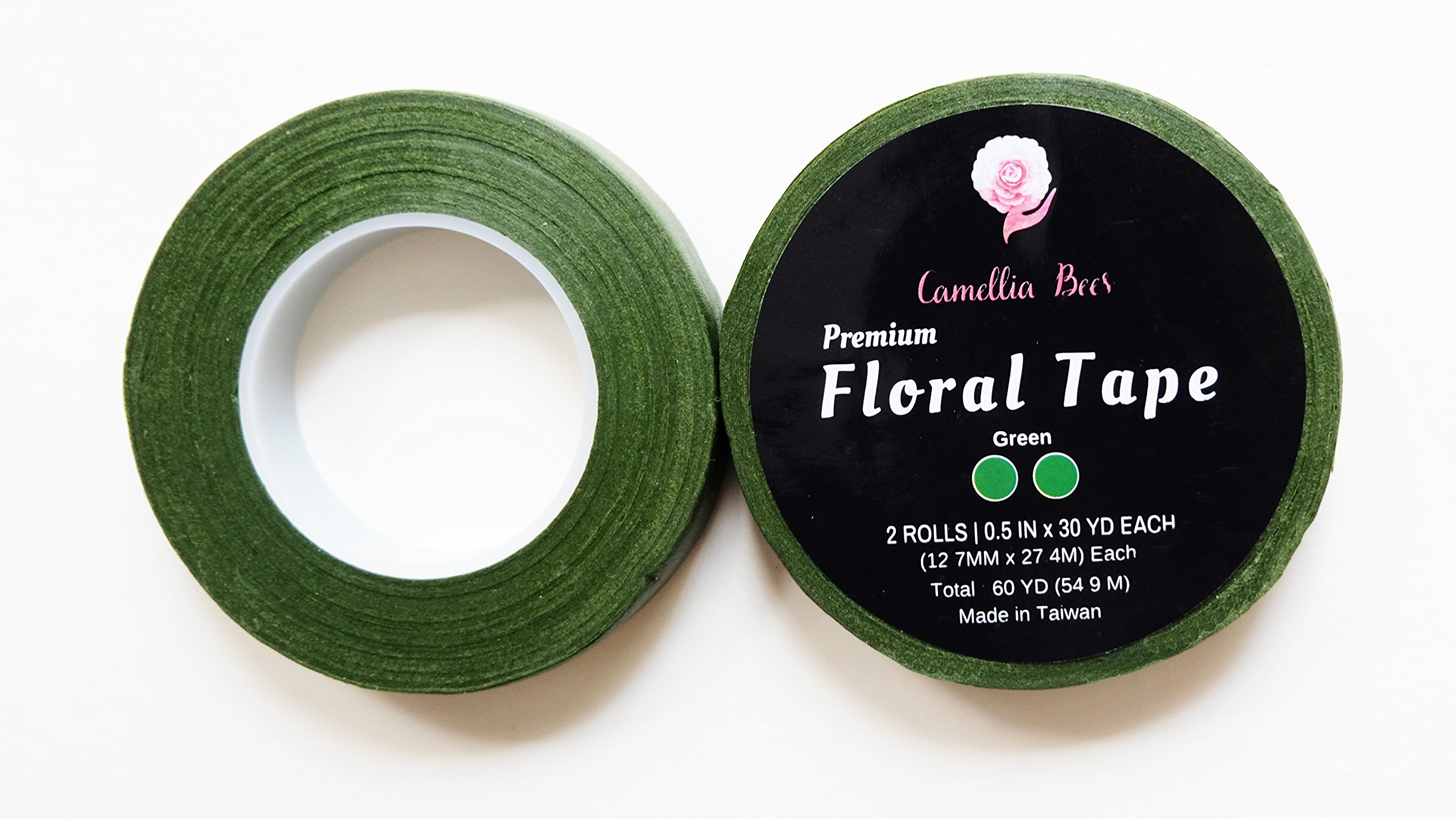 2 Rolls Green Floral/Tape,1/2 inch by 60 Yard Premium Quality Floral Tape, Self Sealing and Adhesive Floral Tape for stem wrap w/'How to use Floral Tape' ebook …