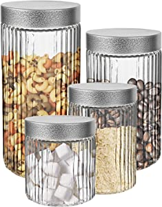 Style Setter Canister Set 4-Piece Glass Jars in 30oz, 42oz, 58oz and 73oz Chic Design with Airtight Stainless Steel Lids for Cookies, Coffee, Flour, Sugar, Pasta, Cereal and More, Fluted Embossed