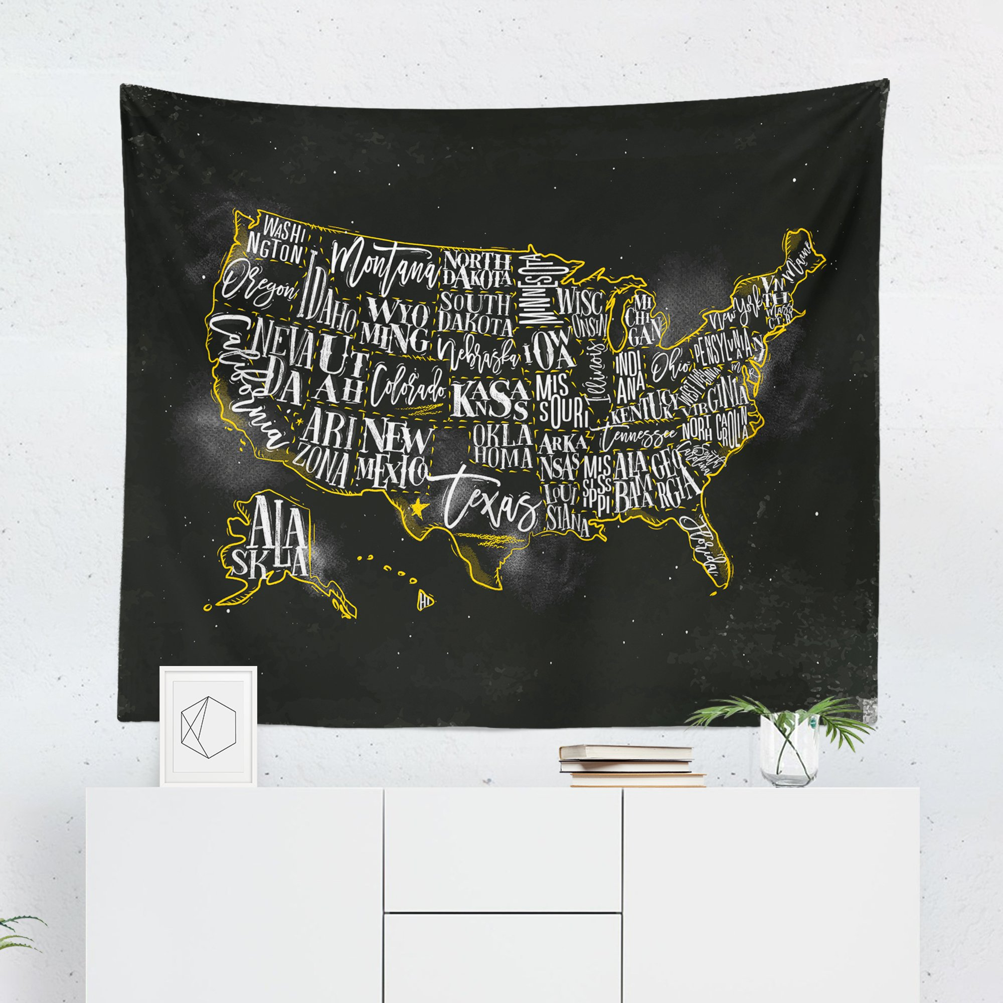 United States Map Tapestry - USA Maps America US Wall Tapestries Hanging Décor Bedroom Dorm College Living Room Home Art Print Decoration Decorative - Printed in the USA - Small Medium Large Sizes