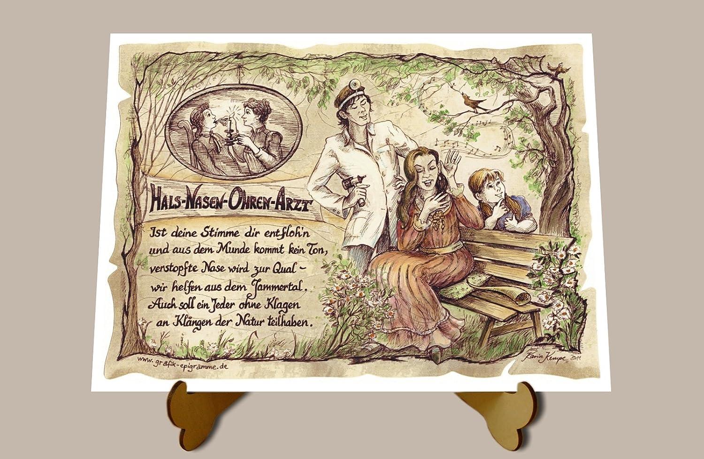 Geschenk HNO Arzt Hals Nasen Ohren Arzt Zeichnung Color 20 x 15 cm ...