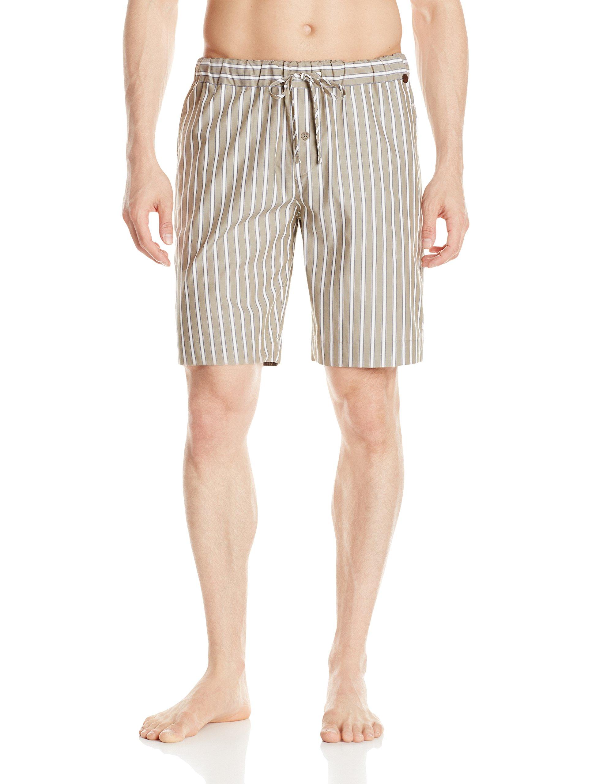 Hanro Men's Javier Short Woven Pant, Olive Stripe, Large