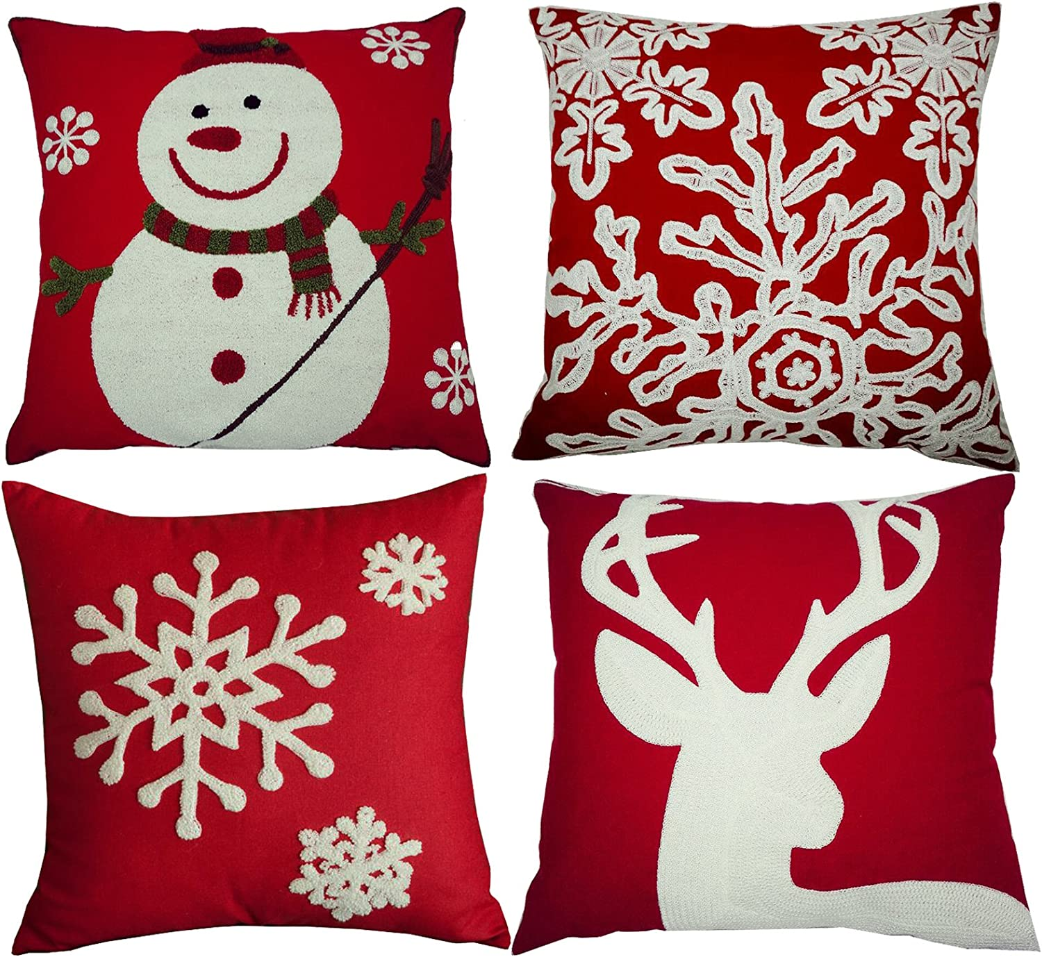 embroidered christmas pillowcase