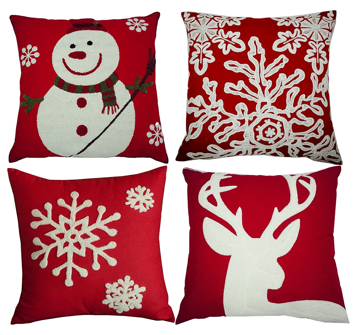 BLUETTEK Red Embroidery Christmas Pillow Covers Set of 4, Snowman,Christmas Deer, Snowflake, Merry Christmas Decorative Throw Pillow Case Cushion Covers