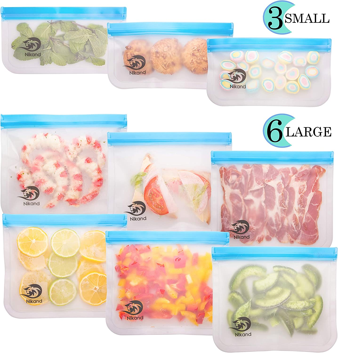Reusable Storage Bags - 9 Pack BPA Free Freezer Food Container for Sous Vide Liquid Lunch Snack Sandwich Fruits Silicon Bag Zip Lock Size Gallon Large Silicone Plastic Conteiner