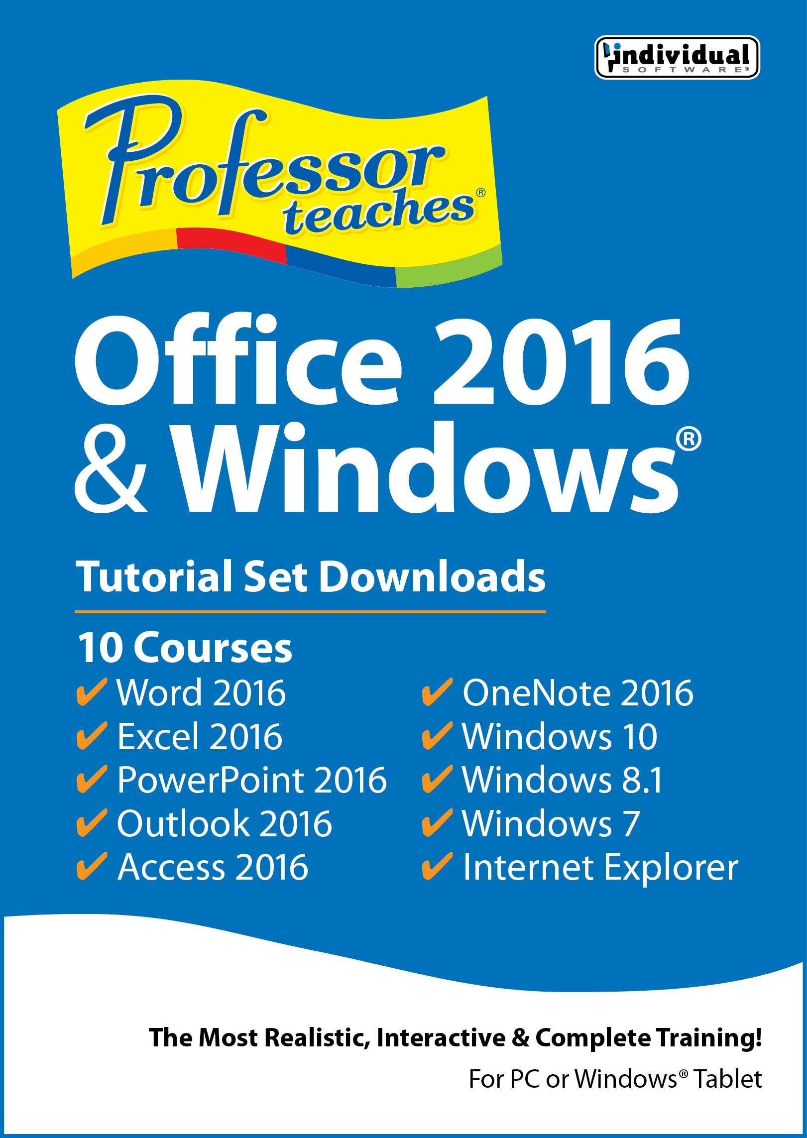 Professor Teaches Office 2016 & Windows Tutorial Set Downloads [PC Download] by Individual Software