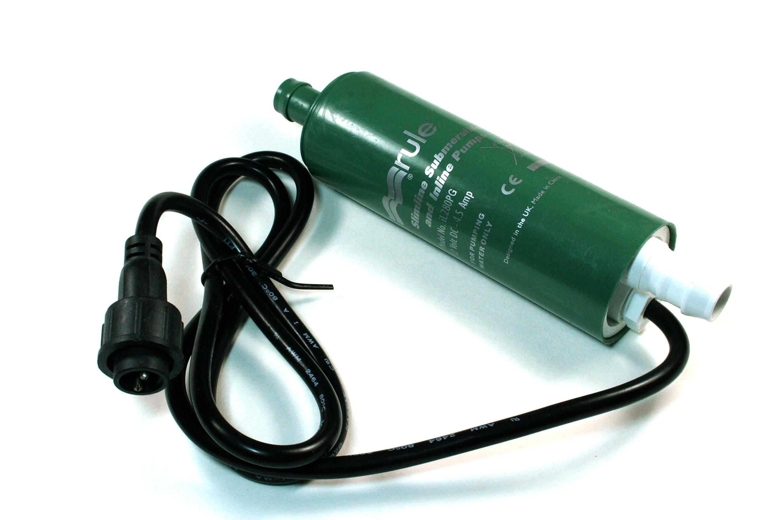 (Bin Y) Rule iL280PG In-Line Submersible Water Pump - 12 V DC - 280 GPH - 1080 LPH - 14 PSI