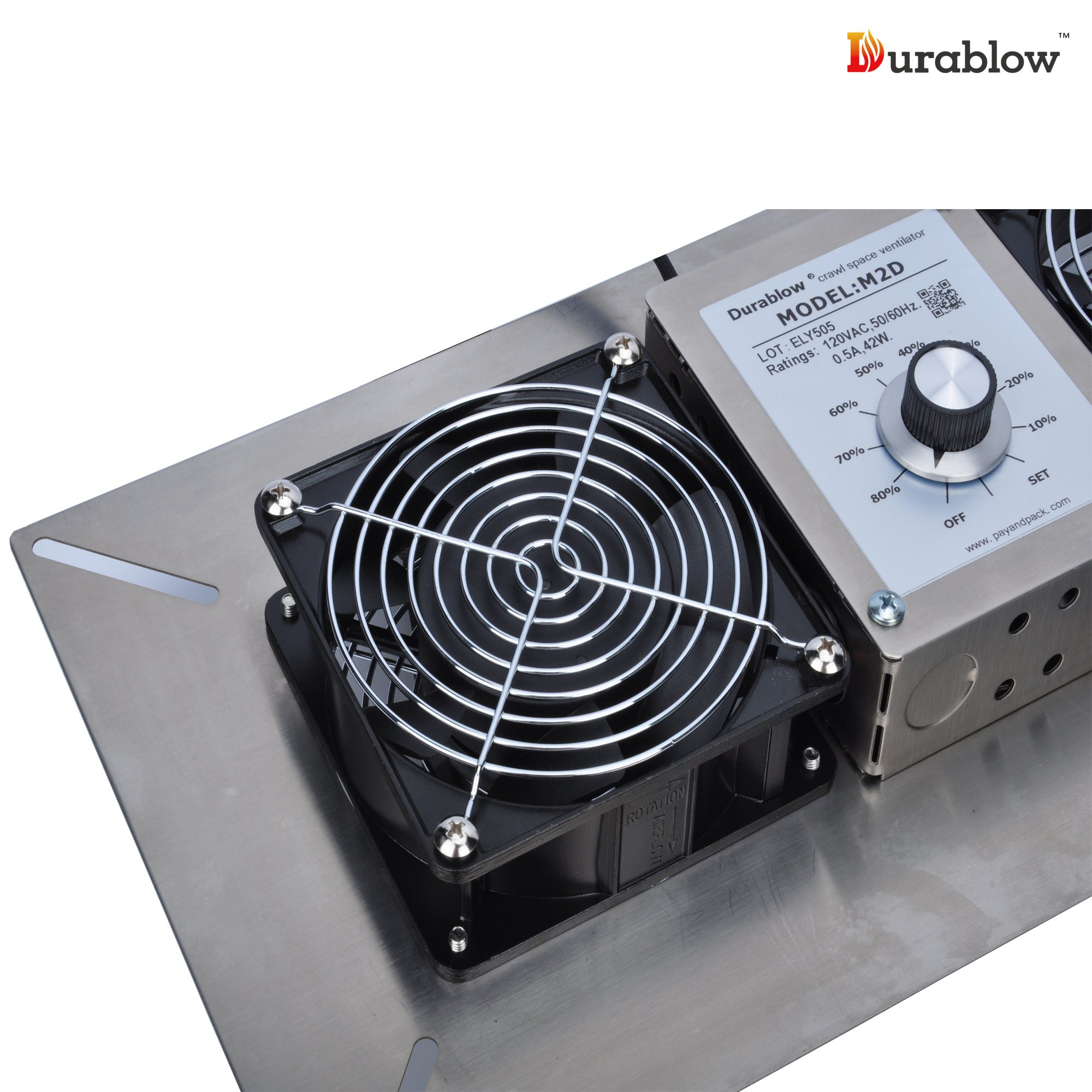 Durablow Stainless Steel Crawl Space Foundation Dual Fans Ventilator + Built-in Dehumidistat (Stainless Steel 304, M2D) by Durablow (Image #5)