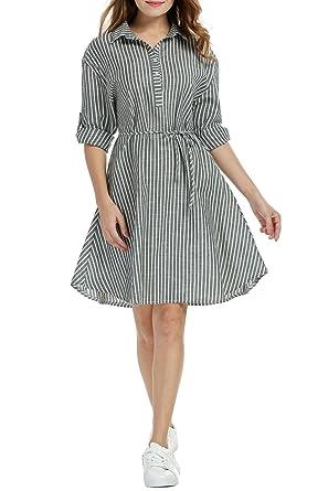 38f85e8b064 Beyove Women s Striped Shirt Dress Long Sleeve Knee-Length Dress Waist  String Dress at Amazon Women s Clothing store