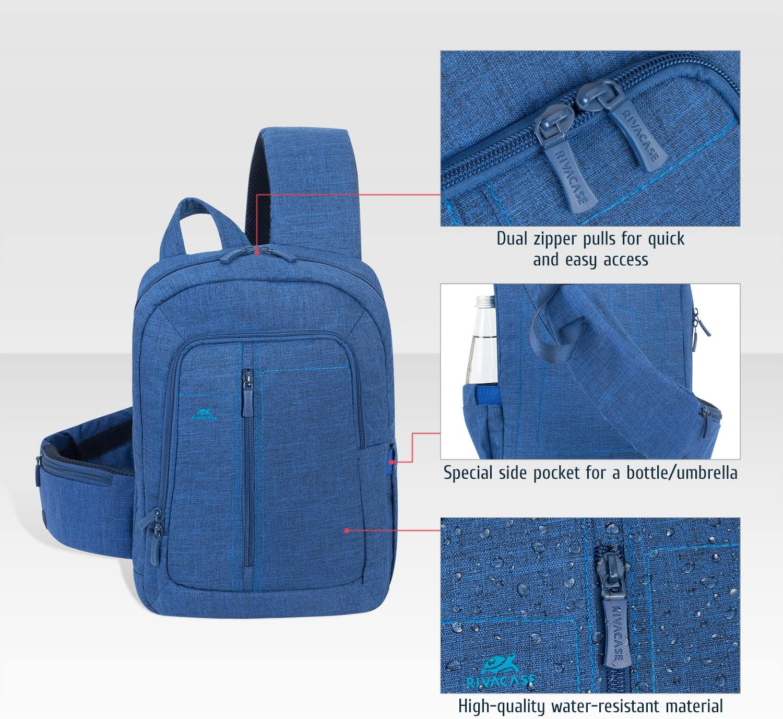 Crossbody Bag Hiking Backpack Men /& Women Bike Bag Rivacase 7529 Sling Bag