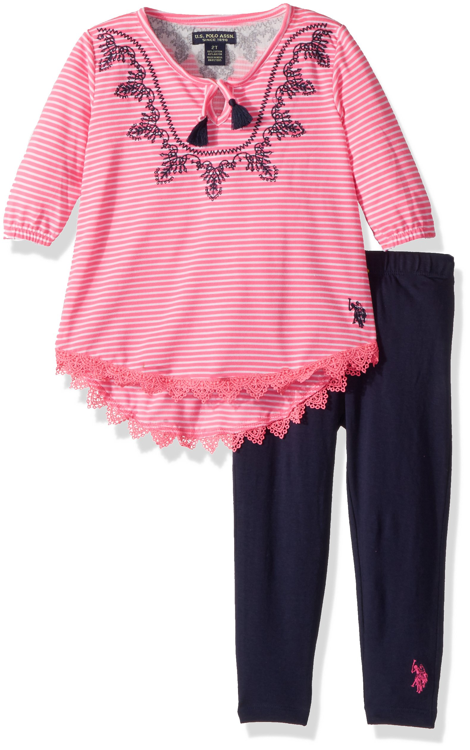 U.S. Polo Assn. Big Girls' Fashion Top and Legging Set, Embro Neck Peasant Top Lycra Jersey Legging Multi, 10
