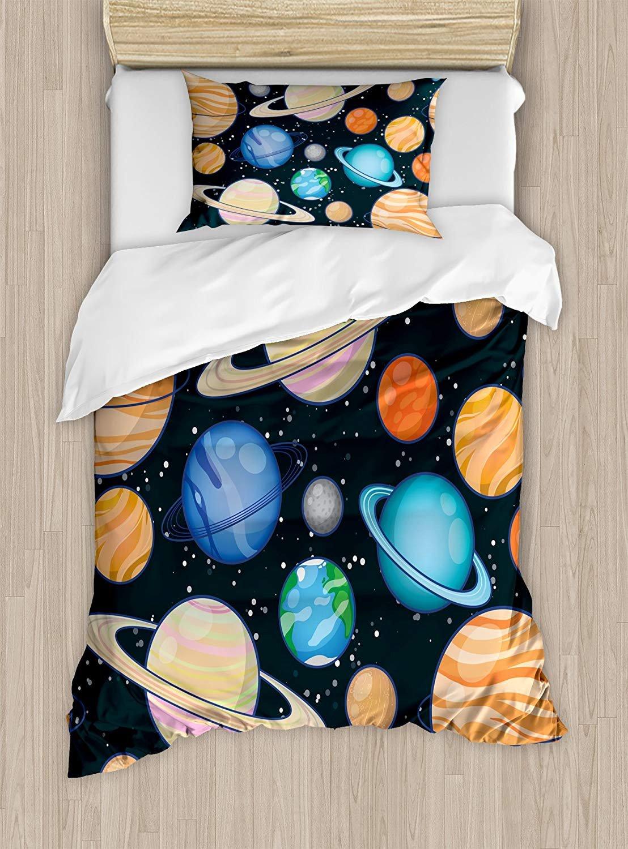 Twin Bedding Set,Galaxy Duvet Cover Set,Cute Galaxy Space Art Solar System Planets Mars Mercury Uranus Jupiter Venus Kids Print,Include 1 Flat Sheet 1 Duvet Cover and 2 Pillow Cases
