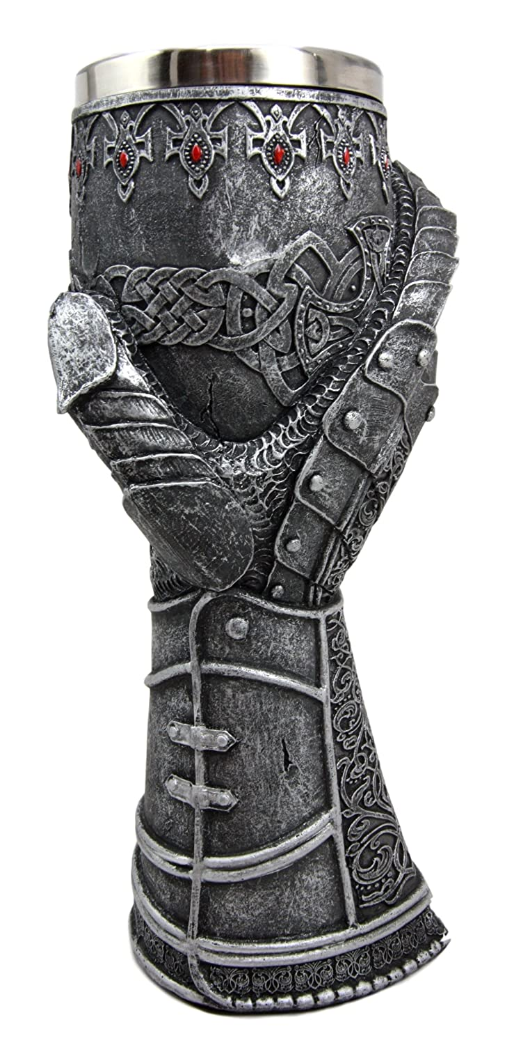 Atlantic Collectibles Medieval Knight Of Chivalry Gauntlet 9.5H 8oz Wine Drink Goblet Chalice Cup
