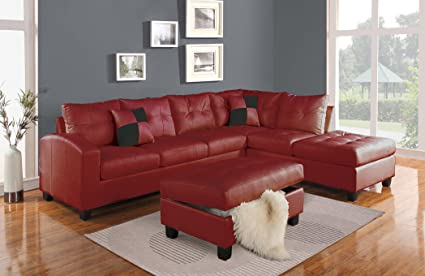 Acme Furniture ACME Kiva Red Bonded Leather Reversible Sectional Sofa With  2 Pillows
