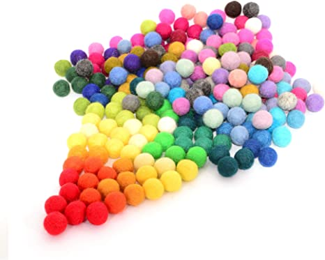 Wool Balls Glaciart Felt Pom Poms 120 Pieces Handmade Felted 40 Color 2.5 cm 1 Inch Bulk Small Puff for Felting /& Garland Red, Pink, Blue, Orange, Yellow, Gray, Black, White, Pastel /& More