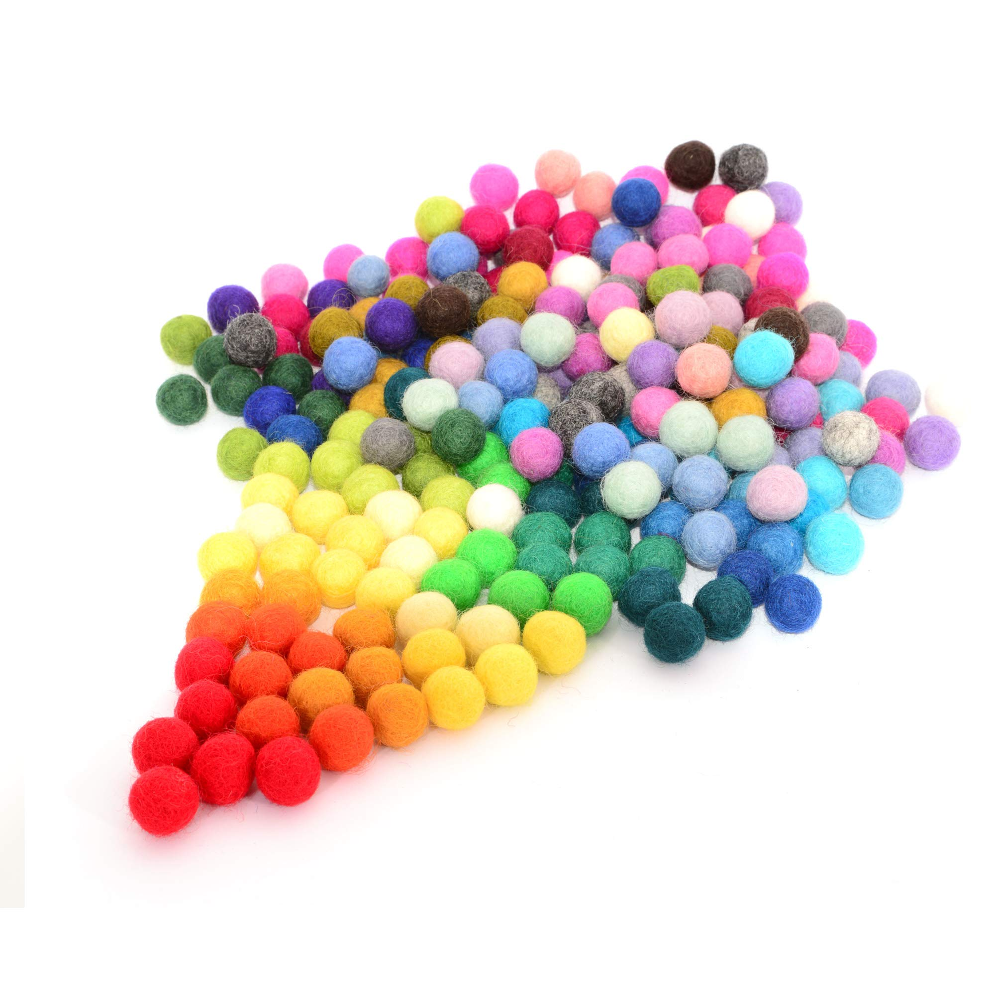 Glaciart One Felt Pom Poms, Wool Balls (240 Pieces) 2.5 centimeters - 1 Inch, Handmade Felted 40 Color (Red, Pink, Blue, Orange, Yellow, Gray, Pastel and More) Bulk Small Puff for Felting and Garland by Glaciart One