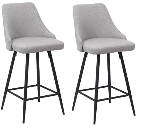 Pleasing Btexpert Premium Upholstered Dining 25 High Back Stool Bar Chairs Set Of 2 Pack Gray Polyester Gmtry Best Dining Table And Chair Ideas Images Gmtryco